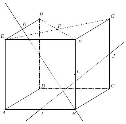Géométrie, espace, exercice, cube, points, droites