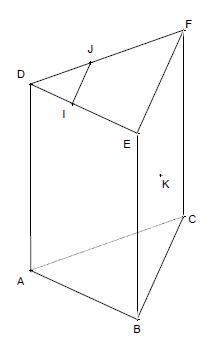 Géométrie 3D, prisme droit, intersection, plan, droite, seconde