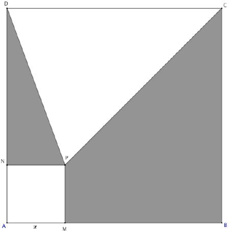 Exercice, second degré et Géométrie 2D, Carré, triangle, aires, Première