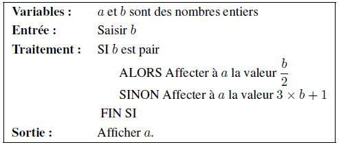 Exercice, algorithme, condition, si, alors, sinon, fin si, affectation, seconde