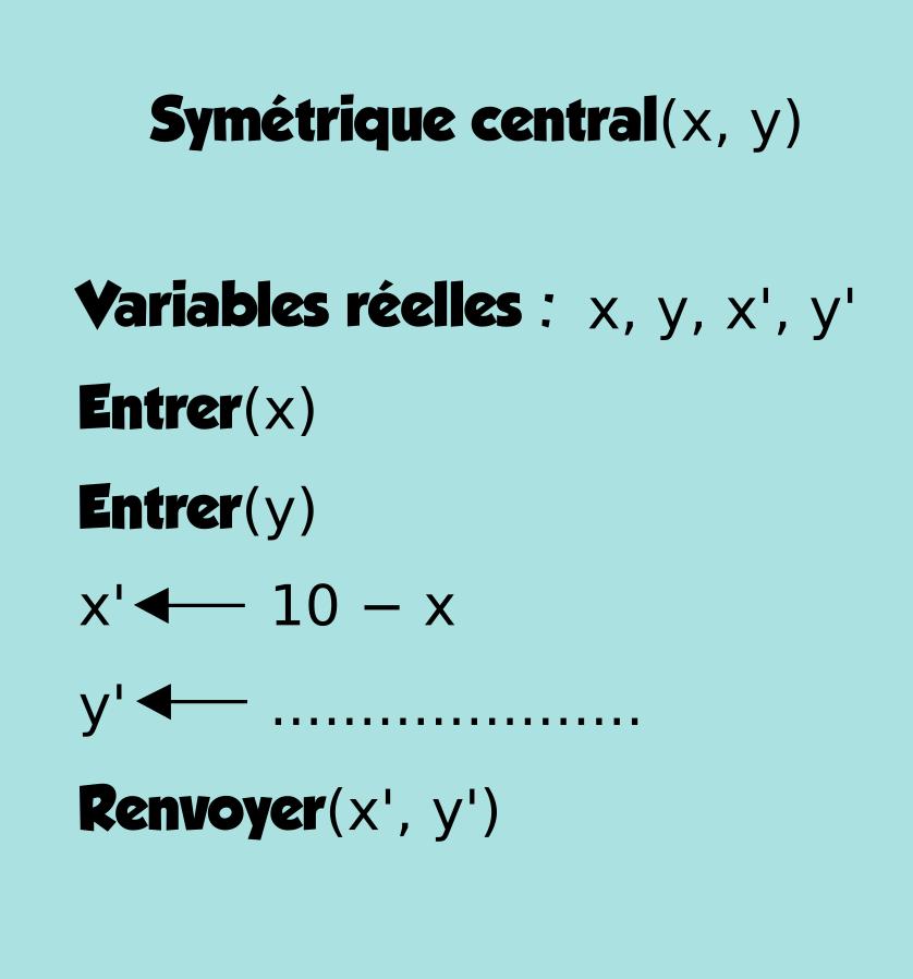 Géométrie, milieu, distance, algorithme