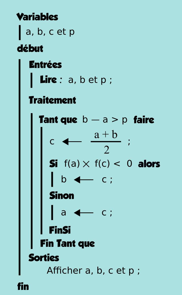 Algorithmique, polynôme, tableau, boucle tant que, terminale