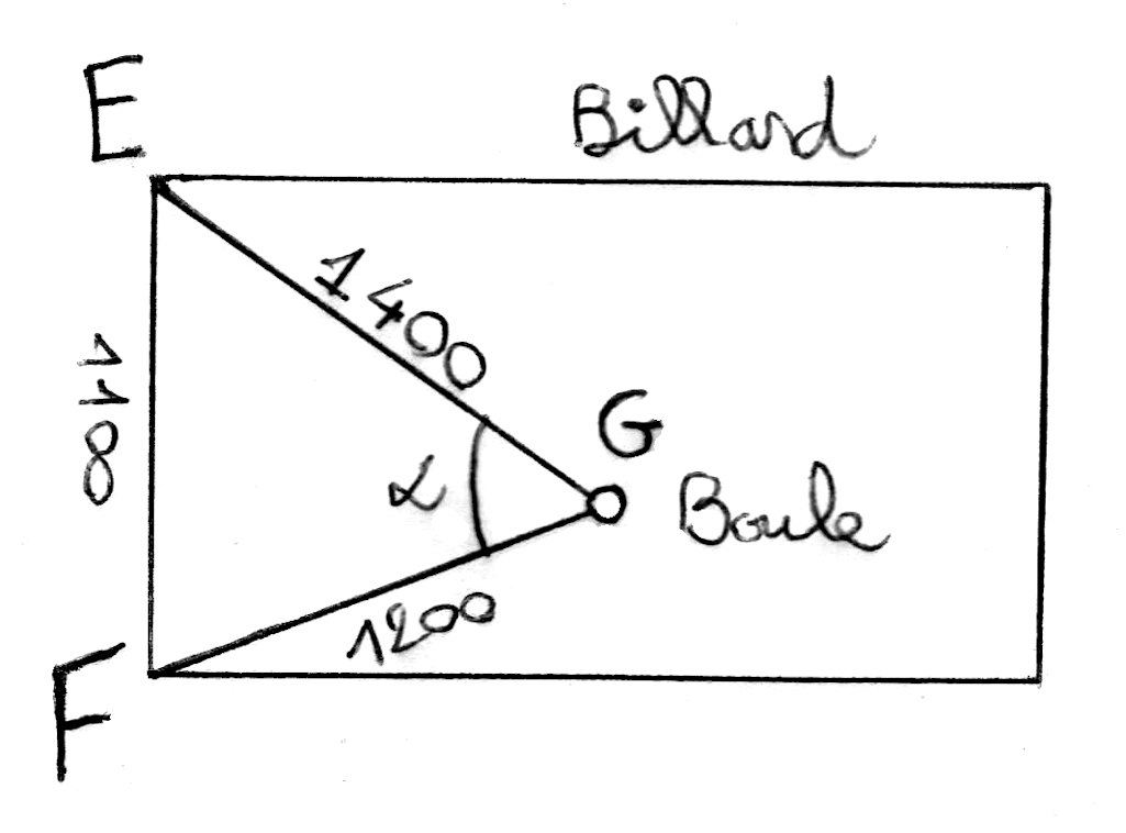 Exercice, Al-Kashi, triangles, produit scalaire, angles
