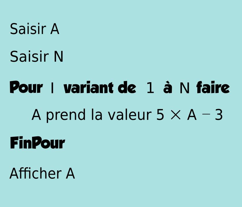 Algorithmique, boucle pour, suite, variable, indice, première