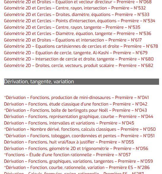 Exercice (DS) de spécialité Maths de Première