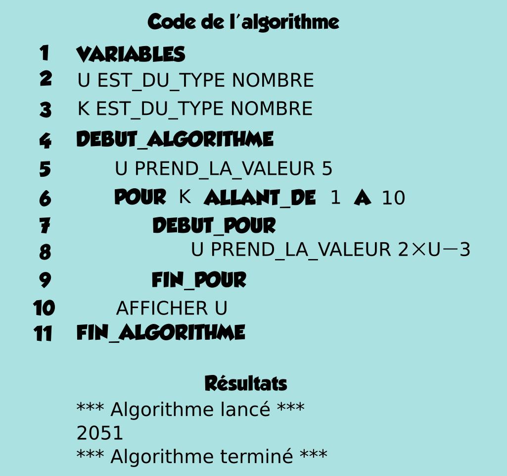 Algorithme, somme, suite géométrique, boucle pour, première, variable